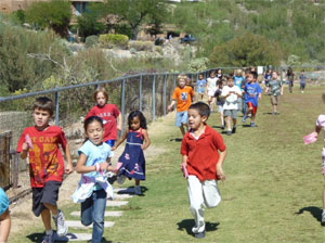 Students running in a group